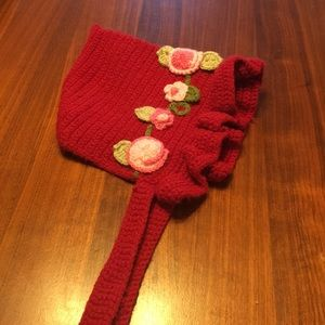 Other - Red knit bonnet hat